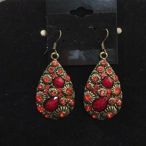 Gold and Red Boho Earrings NWOT